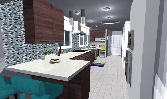 Contemporary Kitchen 3D Rendering Daytime